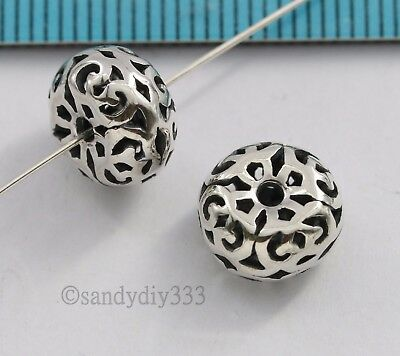 2x BALI STERLING SILVER ROUND FLOWER RONDELLE SPACER BEAD 9.8mm #2846