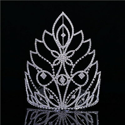 20cm High Large Full Crystal Wedding Bridal Party Pageant Prom Tiara Crown Combs