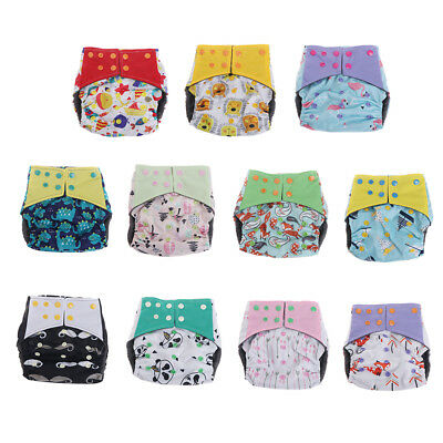 Resuable Baby Diaper Bamboo Charcoal Nappy Double Gusset Adjustable 3-15kg