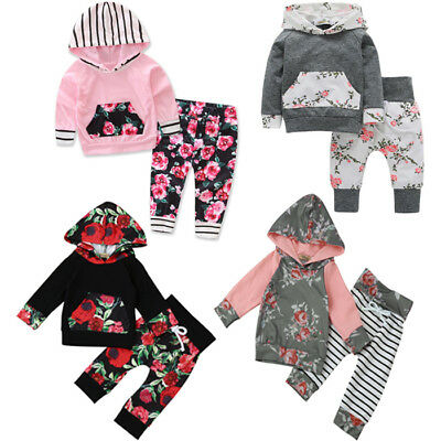 2PCS Newborn Toddler Baby Girl's Floral Hoodies Tops + Long Pants Outfit Clothes