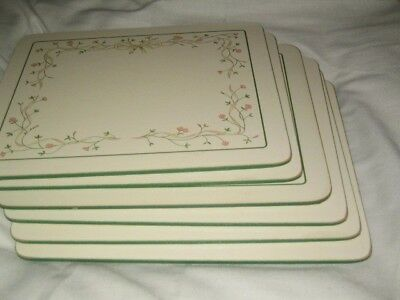 Eternal Beau - 6 x Place Table mats green edge cork back clover leaf vgc