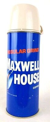 Vintage Maxwell House Coffee Metal Thermos Vacuum Bottle & Olympic USA Pin