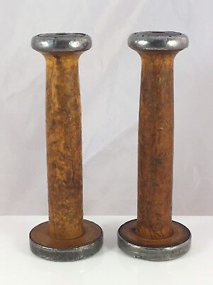 Antique Wood Metal Band Sewing Industrial Textile Mill Thread Yarn Holder
