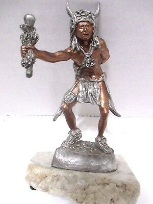 American Indian Witch Doctor Sculpture Silver Stone on Cimarron Alabaster