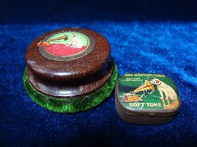 """Antique """"his Masters Voice"""" Gramophone Record Cleaner & Needle Tin."""