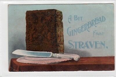 1908 Strathaven greetings postcard. ((Gingerbread). (Crisp Strathaven datestamp)