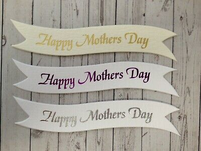 Bulk Wholesale 25 Happy Mothers Day Sentiment Banner Card Making Embellishments