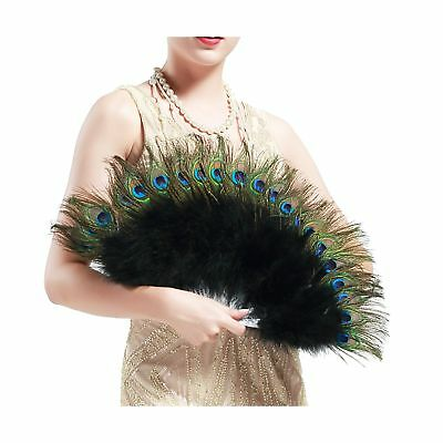 BABEYOND Roaring 20s Vintage Style Peacock & Black Marabou Feather Fan Flappe...