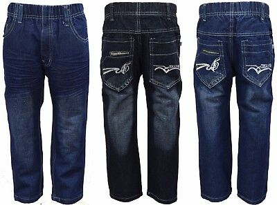 Boys Elastic Waist Jeans Denim Pants Casual Trousers Kids Clothes Ages 4-8 Year