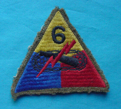 "Wwii Us Army 6Th Armored Tank Early ""Woolie"" Patch"