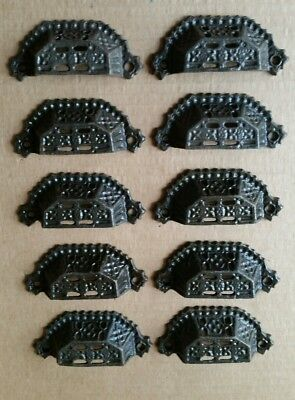 10 Matching Victorian Style Cast Iron Bin Pulls Handles Drawer Pulls