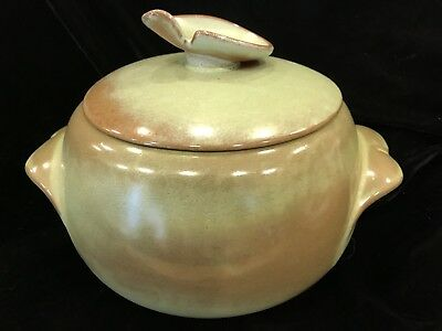 Frankoma Pottery Plainsman Prairie Green w/ Brown  Bean Pot With LID