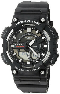 Casio Men's Ana-Digi Quartz 100m World Time Black Resin Watch AEQ110W-1AV