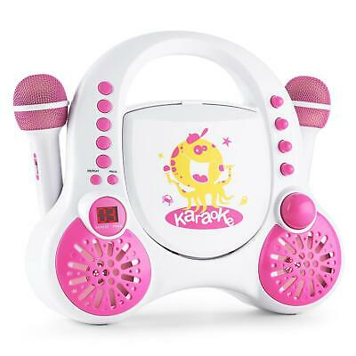 Mini Kinder Karaoke Party Musik Anlage Avc Audio Cd Player 2 Mikros Weiss Pink