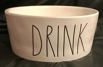 Rae Dunn XL X-Large DRINK Dog Water Ceramic Bowl Big Long Large Letters NEW