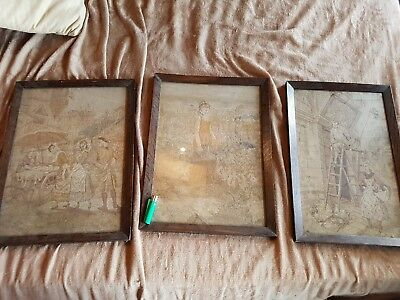 Old Tapestry. Antique Wooden Frames. X3