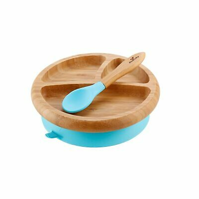 Blue Avanchy Bamboo Suction Baby Plate + Spoon