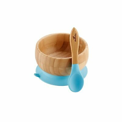 Blue Avanchy Bamboo Suction Baby Bowl + Spoon 2018