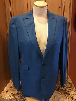 Vintage Bespoke Men's Blue Black Pin Stripe Suit  Jacket Pants
