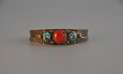 Early Old Navajo Indian Silver Traditional Bracelet - Red Coralturquoise