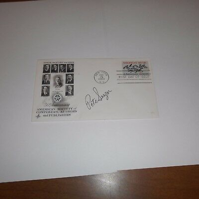 Pete Seeger was an American folk singer Hand Signed FDC