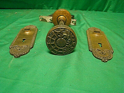 Antique Stunning Brass Victorian Front Entry Door Knob Set Inside & Out A