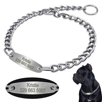 Heavy Duty Dog Choke Chain Collar & Personalised Tag for Medium Large Dogs Boxer