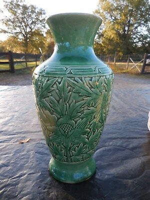 "10.25"" Asian Chinese Carved Floral Green Crackle Glazed Porcelain Vase Celadon"