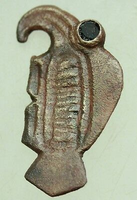 L6  Ancient Rare Merovingian Bronze Fibula Eagle Eye of Carnelian  L=40x20mm 5g