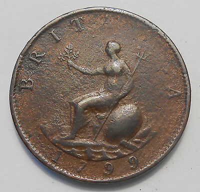 1799 Great Britain 1/2 Penny VG ** NICE King George III Very OLD UK Copper Coin