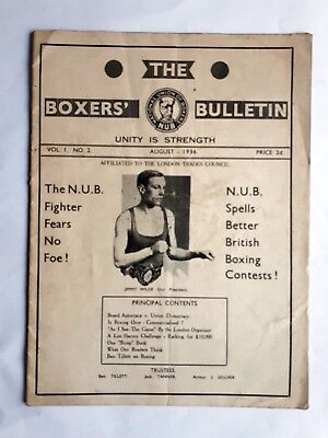 The Boxers Bulletin August 1936 National Union Of Boxers Magazine Jimmy Wilde