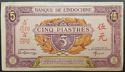 """Scarce """" Pink """" Issue French Indo China 5 Piastres/Yuan/Riel 1942, Circulated"""