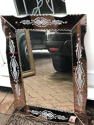 French Etched Glass Framed Mirror