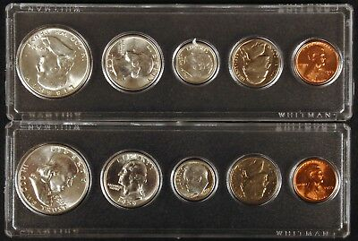 1959 P & D Brilliant Uncirculated Coin Sets in Whitman Holders - 10 Coins