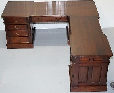 Huge Mahogany Tripled Pedestal Partner Corner Desk For Three To Share 22 Drawers