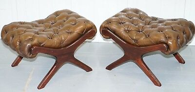 Matching Pair Of Vintage Aged Brown Leather Chesterfield Footstools / Ottomans