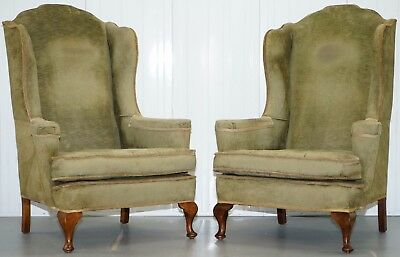 Lovely Pair Of Victorian George I Style Wingback Armchairs William Morris Style
