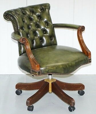 Harrods London Green Leather Chesterfield Medallion Back Captains Office Chair