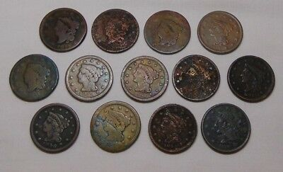 US 1 One Large Cent Lot-12 1817, 1831, 1838, 1839, 1842, 1846, 1851, 1852
