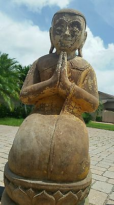 Rare Unique Old Traditional Wooden Antique Indian Buddha praying - Handcrafted