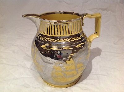 c1820 CANARY YELLOW Silver Resist LUSTRE Galleons Bird Trees NAIVE PITCHER Jug
