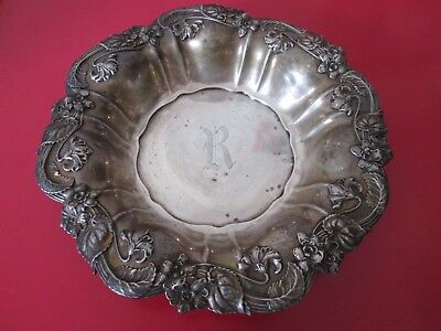Antique ART NOUVEAU - WHITING - STERLING  8 3/4 in BOWL - old patina - 6 toz