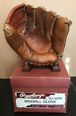 Don Lenhardt Rawlings Dl Speed-Trap Baseball Glove And Store Display Box Rare