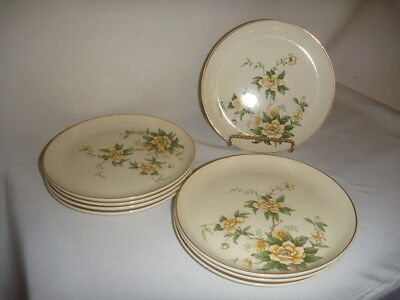 W S George Yellow Flower Green Floral Dessert Plates Set of 8