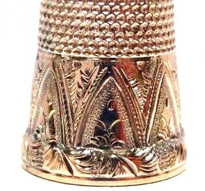 Antique 14K Rose Gold Thimble w/ Hand Engraved Design   AMERICAN  circa 1874