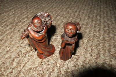 Pair of Antique Hand Carved Japanese Boxwood Netsuke Figurines