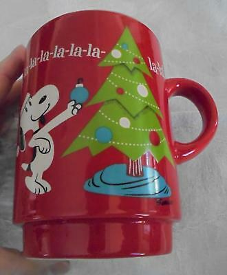 Large Snoopy Peanuts Charlie Brown Large Christmas Themed Coffee Mug Cup Red EUC
