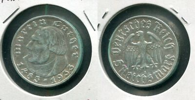 III. DRITTES REICH 1933 A - 5 Reichsmark in Silber, ss+ - MARTIN LUTHER