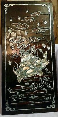 Superb Large Chinese Antique Hand Inlaid Mother Of Pearl Turtle Wall Plaque