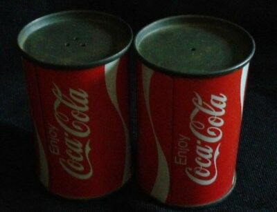 Vintage Coca Cola Mini Metal Can Salt and Pepper Shakers
